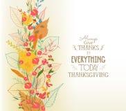 愉快的感恩 与叶子的秋天背景 库存例证