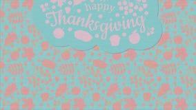 愉快的感恩 在前面是与白色题字的一朵蓝色云彩,分支,并且山脉灰莓果,离开橡木的槭树 皇族释放例证