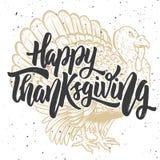 愉快的感恩 在背景的手拉的字法用火鸡 库存例证