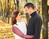 愉快的成人夫妇容忍在秋天城市公园、树与黄色叶子,明亮的太阳和愉快的情感、柔软和感觉 免版税库存图片