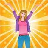 愉快的成功的快乐的妇女 免版税库存照片