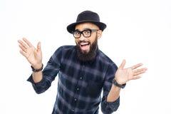 愉快的成功的年轻有胡子的非洲人 库存照片