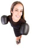 愉快的拳击女商人。 库存照片