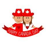 愉快的拿着丝带的男孩和女孩 按钮加拿大日图标设置了 库存例证
