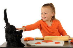 愉快的接触,可怕猫 免版税库存照片