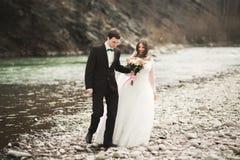 愉快的摆在整洁的河的婚礼夫妇、新娘和新郎反对山的背景 库存图片