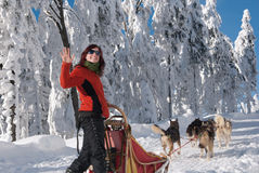 愉快的新妇女musher 免版税库存图片