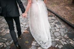 愉快的新娘和新郎在公园 沥青背景路石头适当的阳光纹理 秋天 免版税图库摄影