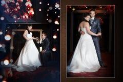 愉快的新娘和新郎在婚礼在现代旅馆大厅里走 免版税库存图片