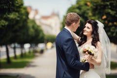 愉快的新娘和新郎在晴朗的胡同在婚礼走 免版税库存图片