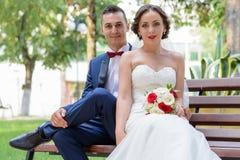 愉快的新娘和新郎坐长凳 免版税库存图片