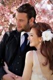 愉快的新娘夫妇 库存图片