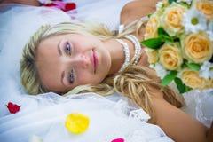 愉快的新娘婚礼 免版税图库摄影