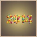 愉快的新的2014年。与多彩多姿的气球的假日背景 库存图片