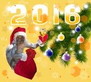 愉快的新的2016年猴子 也corel凹道例证向量 库存图片