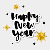 愉快的新的2018年 假日与在欢乐构成和爆炸的葡萄酒上写字的传染媒介例证 库存图片