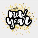 愉快的新的2018年 假日与在欢乐构成和爆炸的葡萄酒上写字的传染媒介例证 免版税库存照片