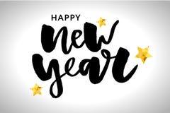愉快的新的2018年 假日与在欢乐构成和爆炸的葡萄酒上写字的传染媒介例证 库存照片