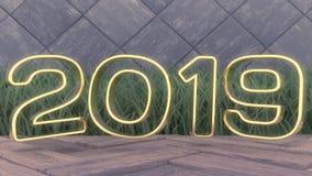 愉快的新的2019年 假日3d例证金子第2019年 在一个木背景 绿草 时髦盖子设计 免版税库存图片