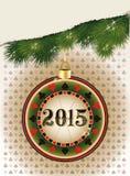 愉快的新的2015年赌博娱乐场纸牌筹码 库存图片