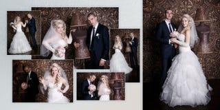 愉快的新郎和迷人的新娘有花束的从玫瑰在演播室棕色背景的 图库摄影