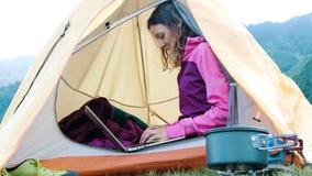 愉快的旅游女孩在帐篷,在自然的自由职业者印刷品使用一台膝上型计算机,当坐在旅行时 影视素材