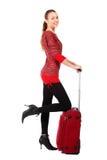 愉快的旅游妇女 免版税图库摄影