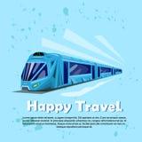 愉快的旅行横幅现代火车运输旅游业 向量例证
