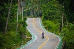 愉快的无忧无虑的爱恋的年轻夫妇骑马滑行车在泰国 免版税库存图片