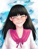 愉快的日本女孩享受晴天 免版税库存图片