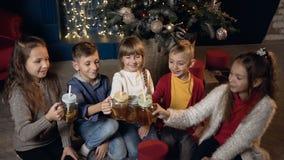 愉快的时髦的孩子欢呼杯子和饮用的茶在圣诞节打过工 股票视频