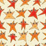 愉快的星动画片无缝的样式 免版税库存照片