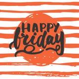 愉快的星期五-在线背景的手拉的字法词组 乐趣刷子照片的墨水题字 图库摄影