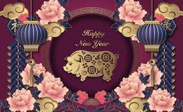 愉快的春节减速火箭的金子紫色安心牡丹花灯笼猪云彩爆竹和装饰圆的框架 向量例证