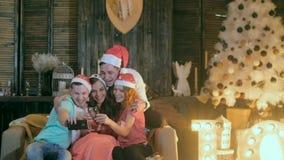 愉快的朋友作为selfie 庆祝庆祝圣诞节女儿帽子母亲圣诞老人佩带 获得的朋友乐趣,笑,在圣诞树附近的鬼脸 股票视频