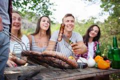 愉快的朋友在有的公园野餐在一个晴天 获得小组成人的人民在夏天野餐的乐趣 免版税库存照片