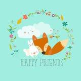 愉快的朋友 Fox,兔子 库存图片