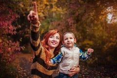 愉快的母亲和她的小儿子走和获得乐趣在秋天森林里 免版税库存图片