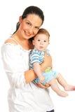 愉快的母亲和男婴 免版税库存照片