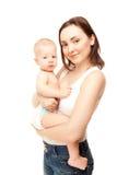 愉快的母亲的照片有可爱的婴孩的 免版税库存图片