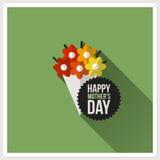 愉快的母亲节。与五颜六色的花束的平的传染媒介设计 免版税库存照片