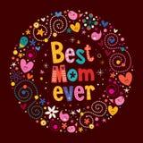 愉快的母亲节减速火箭的卡片最佳的妈妈  库存照片