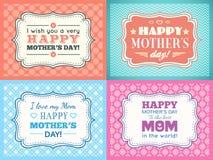 愉快的母亲节卡集 印刷术信件字体 库存例证