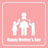 愉快的母亲节妈妈和儿童棍子形象黑白照片 免版税库存图片