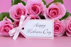 愉快的母亲节桃红色玫瑰背景 免版税库存照片