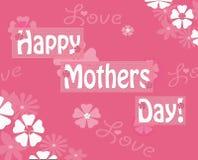 愉快的母亲节粉红色花卉招呼的Notecard 库存图片