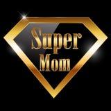 愉快的母亲节,我爱妈妈与特级英雄金黄文本的贺卡 库存照片