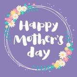 愉快的母亲节紫罗兰色花卉卡片 免版税库存图片