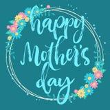 愉快的母亲节grenish蓝色花卉卡片 免版税图库摄影