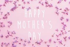愉快的母亲` s天文本,贺卡 美好的淡紫色紫色p 图库摄影